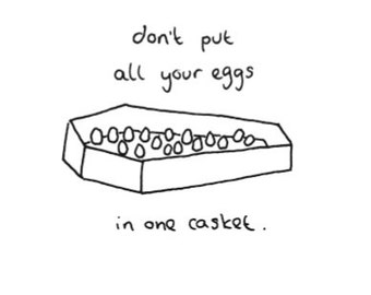 Eco friendly Greeting card - 'Don't put all your eggs in one casket'