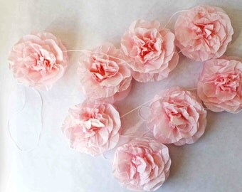 rose tissue paper garland for parties, weddings, showers, home decor