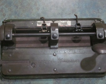 Improved Hummer 3 Hole Punch by Wilson Jones 1940 Era