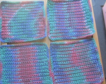 Washcloths or Dishcloths Mauve, Green, Pink, Blue etc. Handmade Crochet Qty of 4