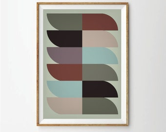 Mid century print poster, retro art, retro poster, Geometric poster, Abstract art, Abstract Prints Posters