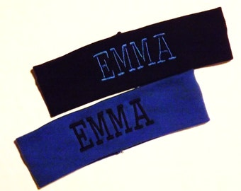 Set of 2 Monogrammed Headbands  - U Pick All - Shown are Black and Dark Blue