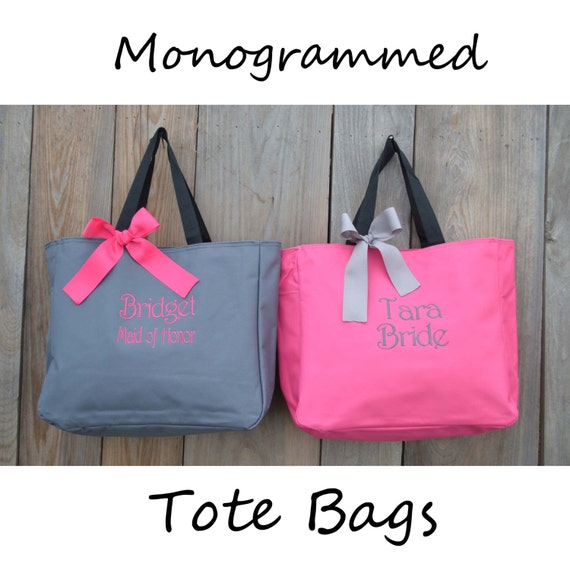 Bridesmaid Gift, Monogrammed Tote Bags, Set of 2 Personalized Bridesmaids Bags, Wedding Tote Bag, Maid Of Honor Gift, Mother of the Bride
