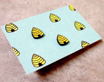 Earrings - Beehive Stud Earrings - Ear Studs - Acrylic Plastic Earrings - Stainless Steel Earrings - Yellow Earrings - Cute Earrings