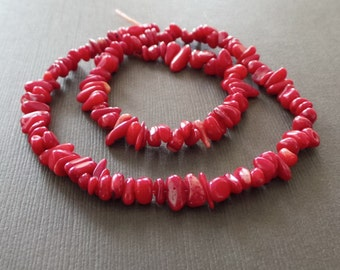 Red Coral Smooth Chip Beads