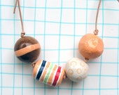 Large Chunky Bead Necklace peach stripe wood