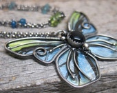 Queen Alexandra's Birdwing necklace ... wire wrapped metalwork winged butterfly pendant with onyx