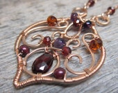 Spirit of Autumn necklace ... wire wrapped 14K rose gold fill with garnet, hessonite, amethyst, and rhodolite