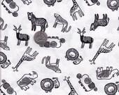 Half yard - White Safari Animals - Wee Gallery - Dear Stella cotton quilt fabric, animal fabric, jungle fabric, juvenile fabric, kid fabric