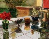 Still Life Roses Kitchen Windows Original Art Framed Watercolor Painting Belinda DelPesco