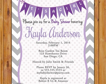 Purple Lavender Baby Shower Invitation Grey Chevron Pennant Bunting Invite It's a Girl Baby Shower Invitation 5x7 Digital JPG (220)