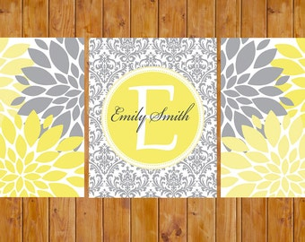 Printable Floral Flower Bursts Butter Canary Butter Yellow Grey Nursery Damask Monogram Baby Decor Bedroom Wall Art 8x10 Digital Files (147)