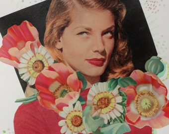 Original Mixed Media Collage - Hollywood's Newest Sensation Lauren Bacall