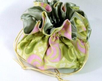 Jewelry Bag,  Drawstring Bag, Drawstring Travel Bag, DrawstringTote, Jewelry Organizer, Jewelry Pouch,  Amy Butler Lotus Pond, Yellow Medium