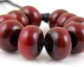 Chestnut Spacers - Handmade Artisan Lampwork Glass Beads 5mmx9mm - SRA (Set of 10 Spacer Beads)