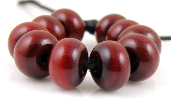Chestnut Spacers - Handmade Artisan Lampwork Glass Beads 5mmx9mm - SRA (Set of 10 Spacer Beads)