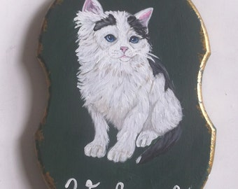 Domestic Cat Kitten Hand Painted Mini Welcome Plaque Sign