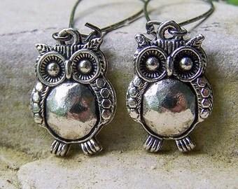Little Hoots|Pewter Owls|Long Gunmetal Earrings|Owl Earrings|Woodland|Wedding|Bird Lover|Nature Lover|Etsy Jewelry|Earrings Under 15|Cute