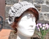 Light Gray Cotton Acrylic Blend Sunhat - Newsboy Style Crochet Hat - Summer Accessories