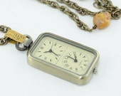 Dual Time Watch Antiqued Gold Necklace with Ladybugs