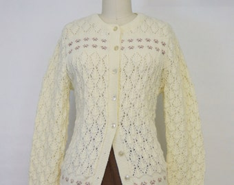 Ivory Pointelle Knit Cardigan by Wintuk | 1960s Vintage Sweater | Size Small Jumper