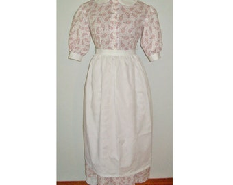 Women's White Apron for Pioneer, Prairie, Colonial Costumes
