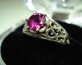 Filigree Sterling Silver Ring With A 6mm Rhodolite Faceted Garnet