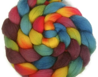 Handpainted BFL Wool Roving - 4 oz. ARCADE - Spinning Fiber