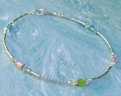 Ankle Bracelet Pastel Multi Color Glass and Crystal Sterling Silver Anklet