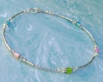 Ankle Bracelet Pastel Multi Color Glass and Crystal Sterling Silver Anklet