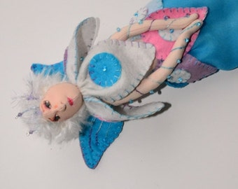 Fairy, Pastel OOAK fairy doll ornament, Wallhanging