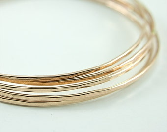 Thin Hammered Bangle Handmade using Recycled 14K Gold Fill