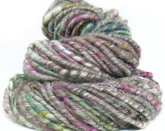Handspun Art Yarn corespun handcarded sparkly Shetland Merino wool alpaca sari silk viscose