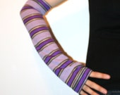 Purple Clear and White Striped Arm Warmers X Long