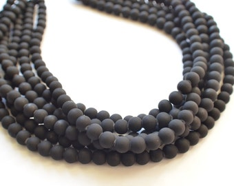 The Michelle- Black Matte Bead Statement Necklace