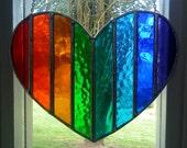Rainbow Heart! Beautiful Valentine Stained Glass Suncatcher - pewtermoonsilver