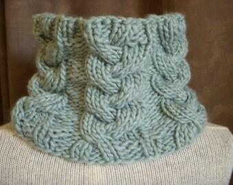 Seafoam Cowl, Pale Aqua Knit Cable Scarf, Sea Foam Neck Warmer