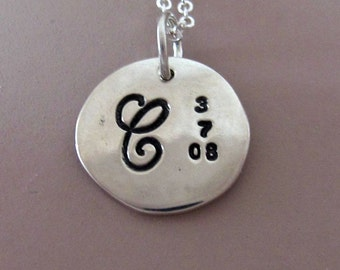 Mother's Necklace with Initial and Date Custom Hand Stamped in Sterling Silver