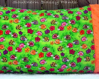 Toddler Girl Pillow Case - Baby Pillowcase Only - Ladybugs and Minky Pillow Case - ON SALE, In Stock and Ready To Ship