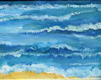 Seascape painting, original Ocean art painting, 5 x 7, acrylic canvas panel, waves, coastal painting, sea decor, acrylic painting canvas art