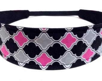 Headband Reversible Fabric  -  Black, Grey, Fuchsia Pink Quatrfoil, Moroccan  -  Headbands for Women  -  AMBER