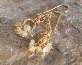 OPAL earrings, 14k gold filled, Opal jewelry, OCTOBER birthstone, October birthday, 14k gold filled Opal cluster earrings