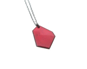 Enameled Faceted Nugget Necklace - Reversible