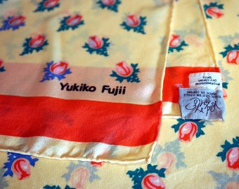 Vintage Silk Yukiko Fujii Scarf Baby Doll Sweetheart Cabbage Rose Floral Japan Apricot Orange Green Womens Accessories Silk Scarves