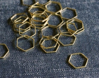 Honeycomb Hexagons 10mm - Raw Brass - 36 pieces - Hexagon Connectors, Brass Hexagon, Hexagon Link