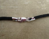 "Black Satin Cord With Sterling Silver Lobster Clasp - 16"" or 18"" total length"
