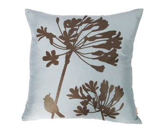 Blue Grey Cardinal on Agapanthus 17 Inches Square Faux Silk Pillow