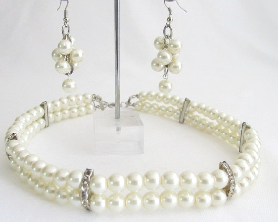 Classic Splendid Double Stranded Wedding Necklace With Grape Bunch Earrings Free Shipping In USA