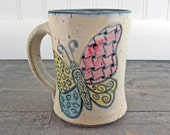 Butterfly Coffee Mug - Hand Painted - Wheel Thrown - Stoneware