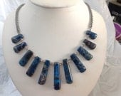 Stainless steel and Blue Stone Fan chainmail necklace